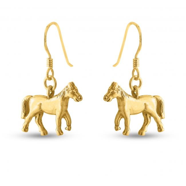 Gold plated earrings Trotting Horse