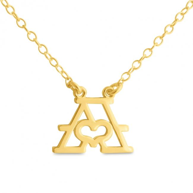 Gold plated necklace Initial Letter A with Heart Sideways
