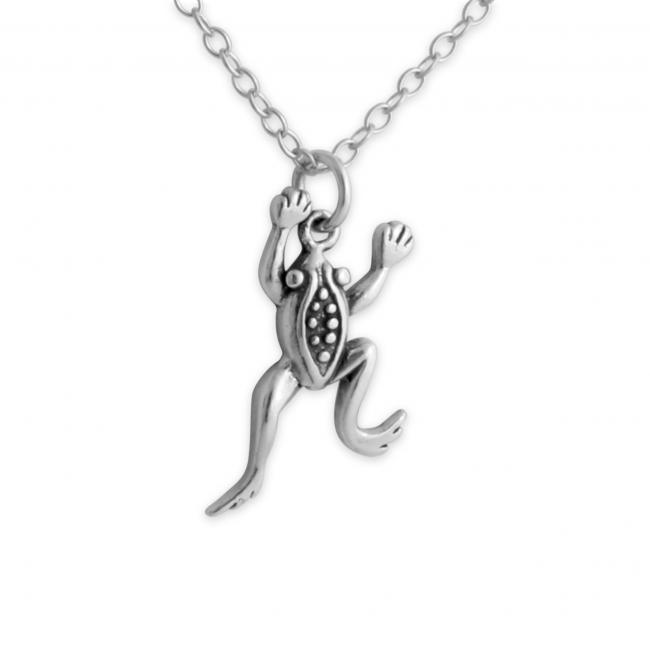 925 sterling silver necklace Leaping Frog