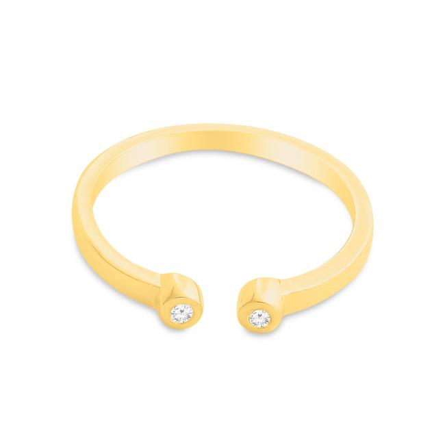 Gold plated ring Dual Round CZ Plain Open Adjustable Ring