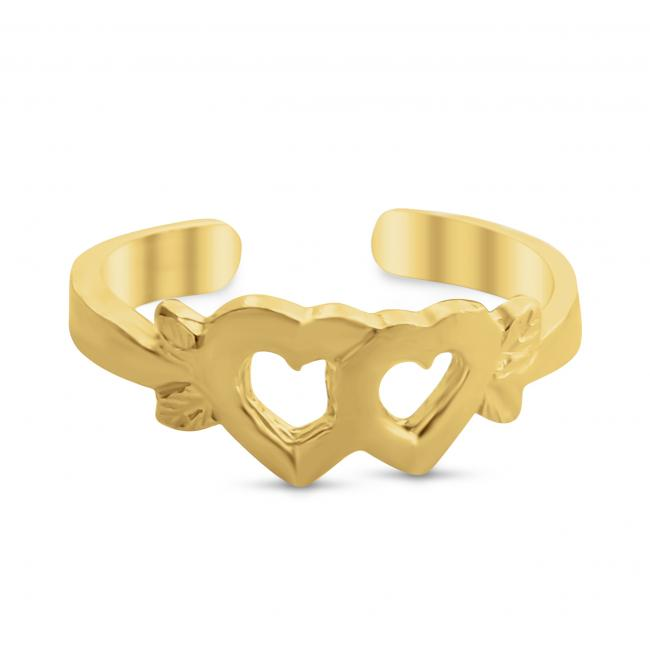 Gold plated ring Joined Hearts Adjustable Toe Ring