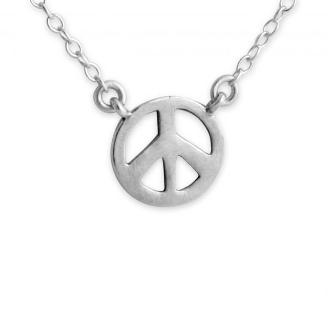 925 sterling silver necklace Peace Symbol Jump Ring Necklace