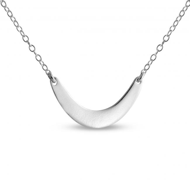 925 sterling silver necklace Small Crescent Moon Sideways