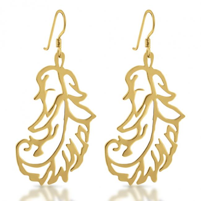 Gold plated earrings Stylized Feather Drop Dangle Hook