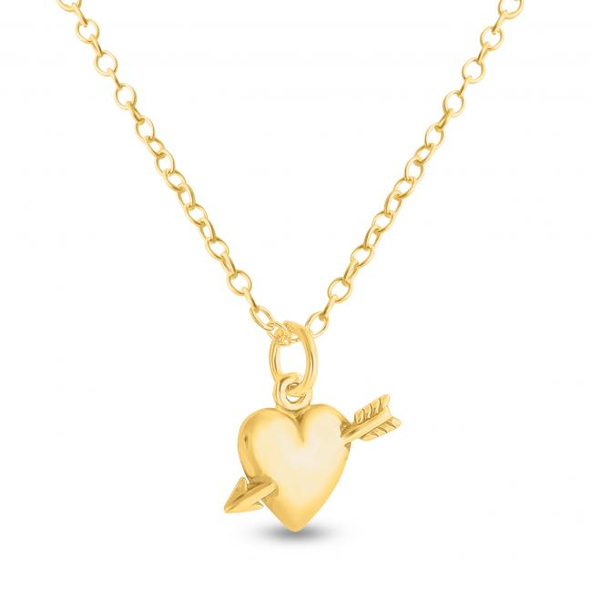 Gold plated necklace Solid Heart and Cupid's Arrow