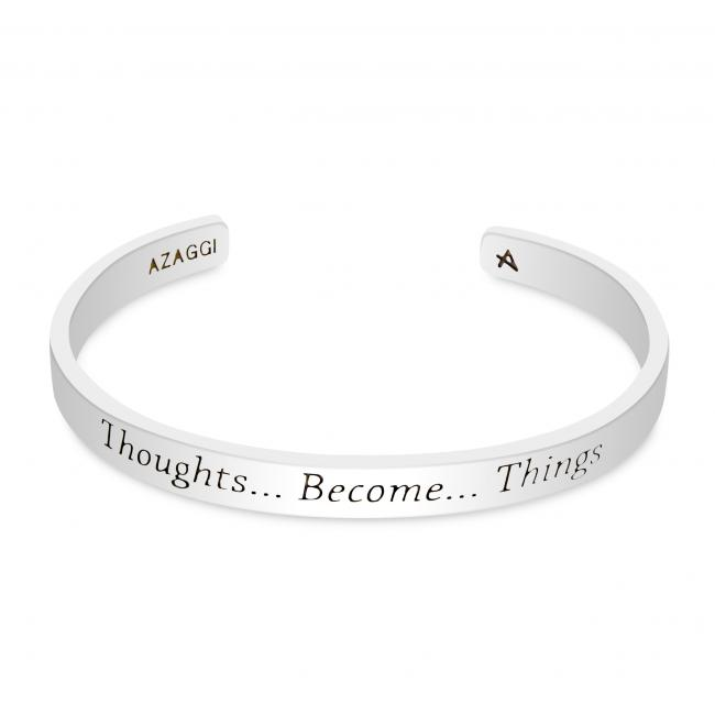 925 sterling silver bracelet Brass/ Rhodium Thoughts Become Things Inspirational Cuff Bracelet
