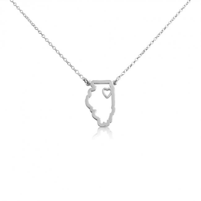925 sterling silver necklace Illinois Home is Where The Heart Is State Necklace