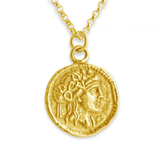 Gold plated necklace Athena Greek Goddess Ancient COIN