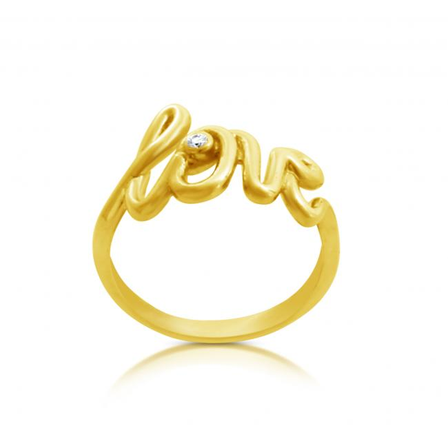 Gold plated ring 2mm (0.03 ct. tw) Diamond LOVE Script