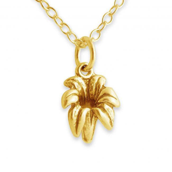 Gold plated necklace 3D Tender Lily Flower Floral
