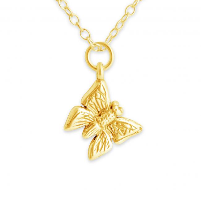 Gold plated necklace Tiny Butterfly Double Sided Bug Insect