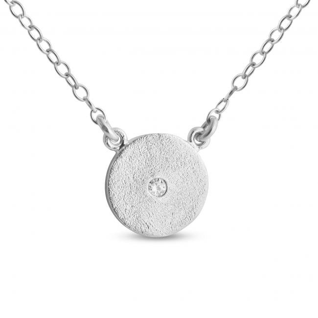 925 sterling silver necklace Cute Textured Disk w/ CZ Sideways
