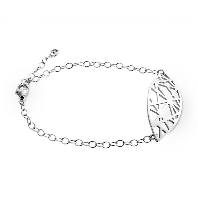 925 sterling silver bracelet Abstract Mandorla Charm Chain
