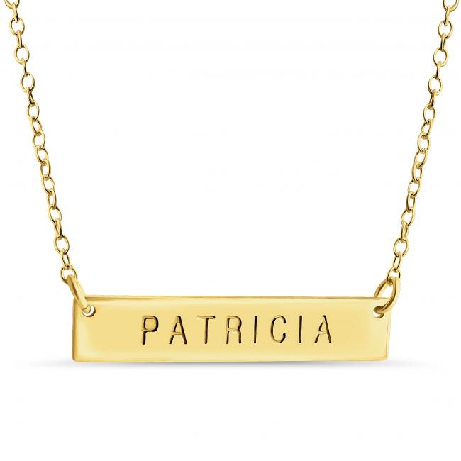 Gold plated necklace Name Bar Patricia