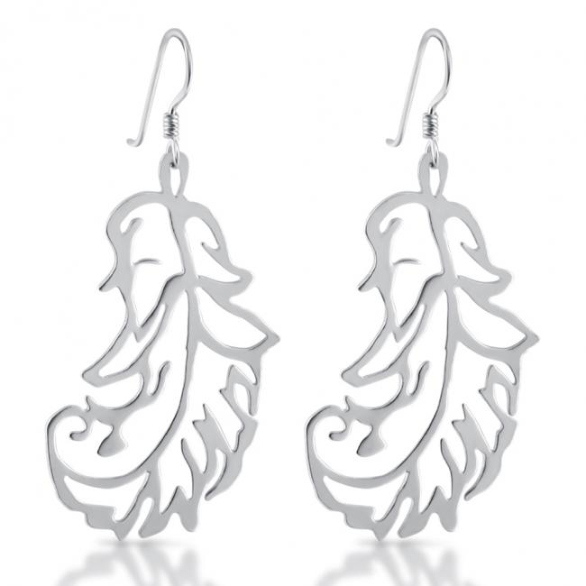 925 sterling silver earrings Stylized Feather Drop Dangle Hook