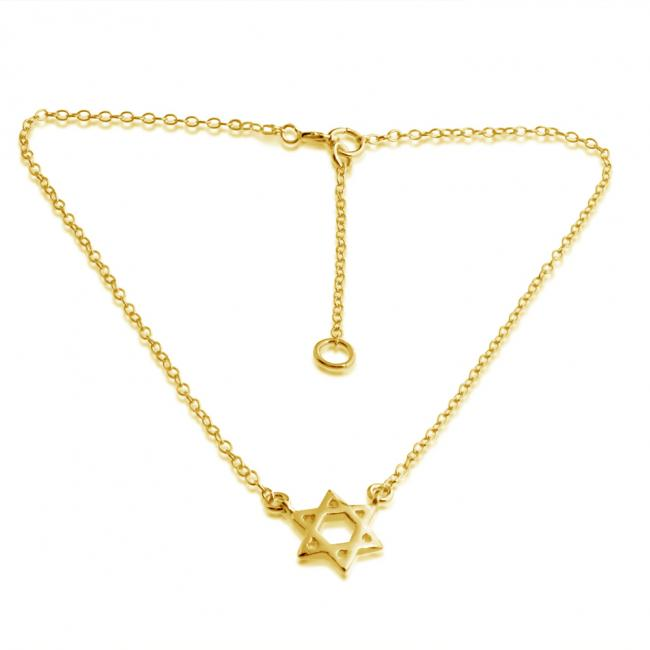 Gold plated anklet Jewish Star of David Charm