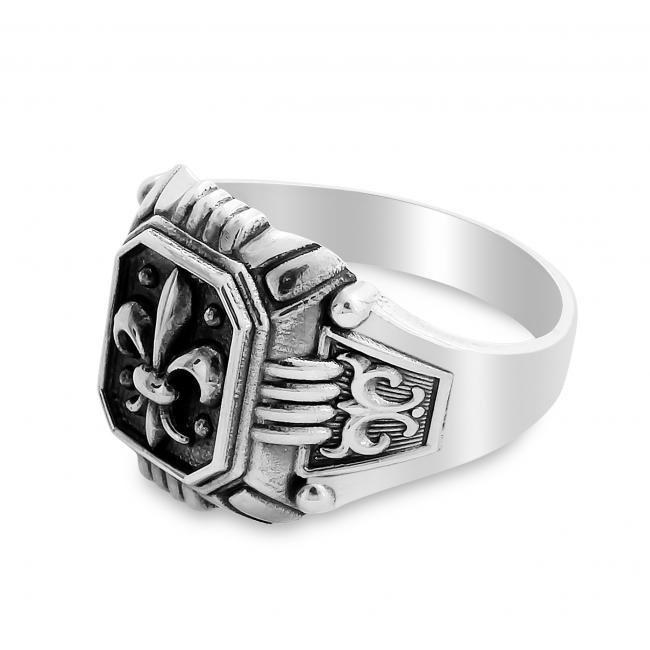 925 sterling silver ring Fleur de Lis Mens