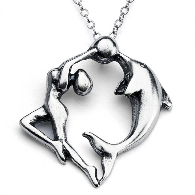 925 sterling silver necklace Dancing Woman and Dolphin
