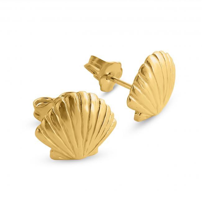 Gold plated earrings Cute Seashell