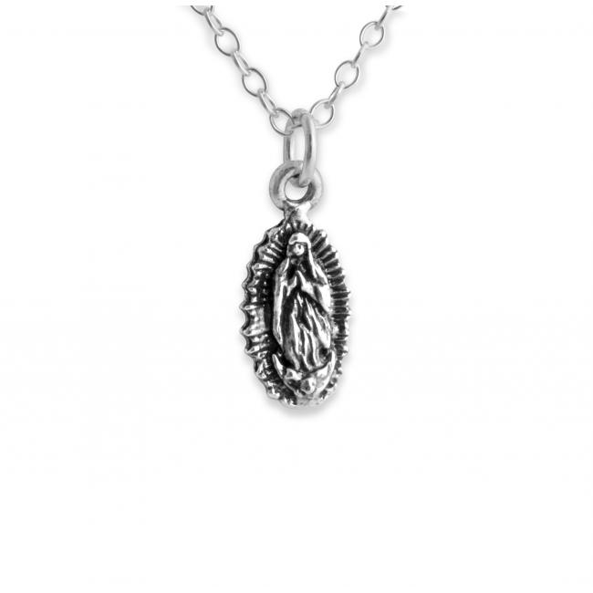 925 sterling silver necklace Our Lady of Guadalupe Virgin Mary Religious