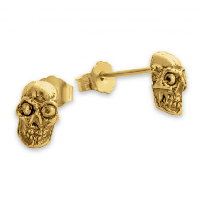 Gold plated earrings Skull