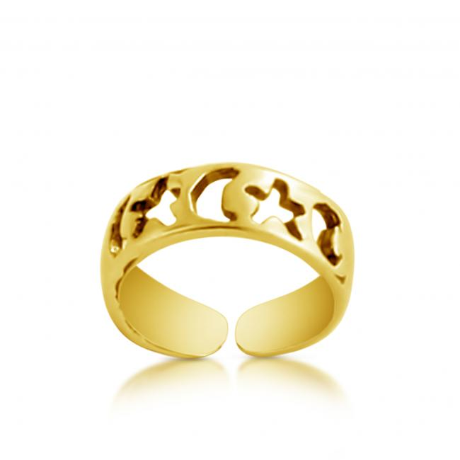 Gold plated ring Moon + Star Adjustable Toe Ring