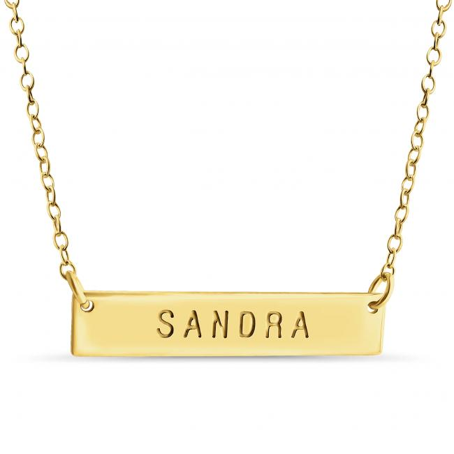 Gold plated necklace Name Bar Sandra