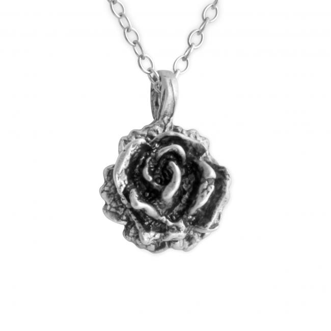 925 sterling silver necklace 3D Rose Flower