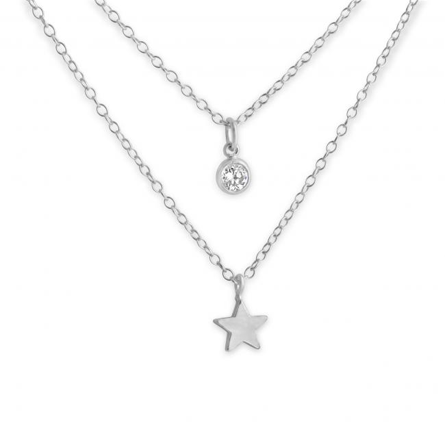 925 sterling silver necklace Tiny Star and CZ w/ Double Chain