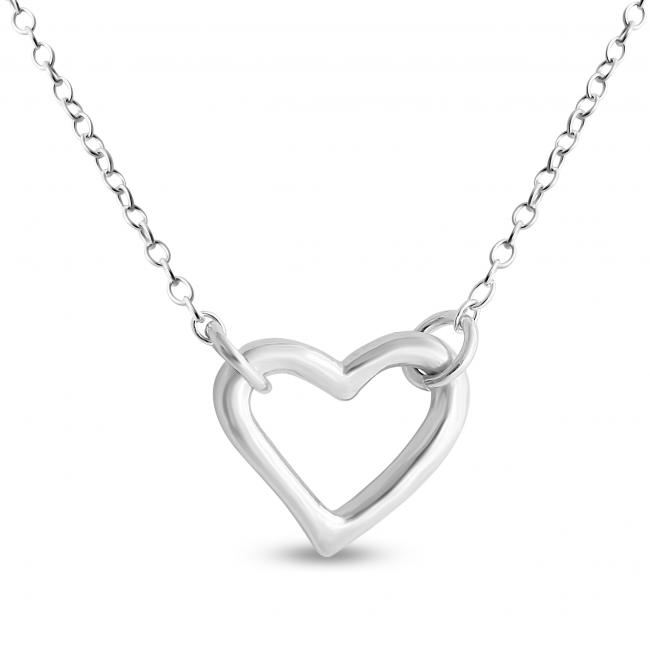 925 sterling silver necklace Small Open Heart