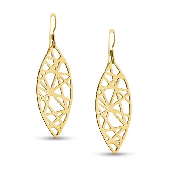 Gold plated earrings Abstract Mandorla Drop Dangle Hook