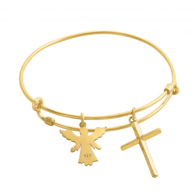 Gold plated bracelet Angel's Blessing Adjustable Wire Bangle
