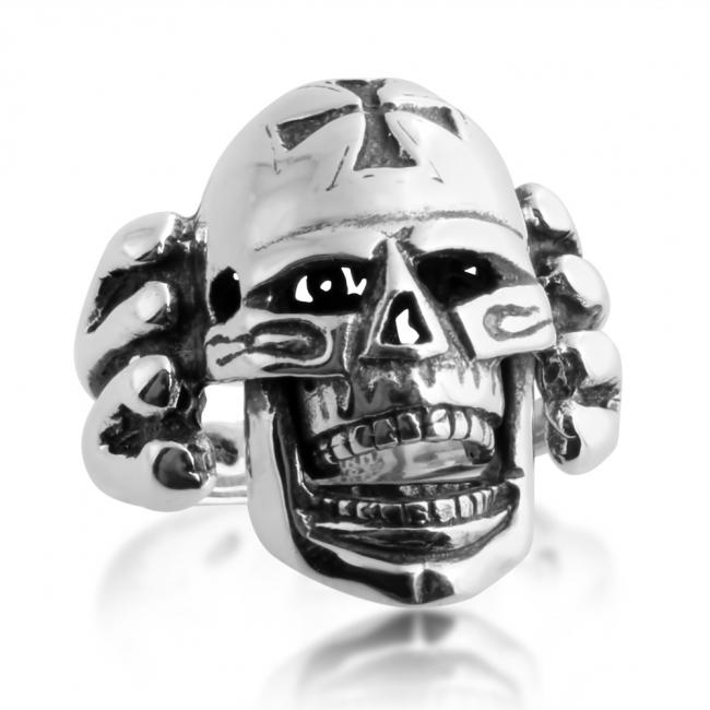 925 sterling silver ring Large Skull with Cross Biker Motorcycle Hardcore Born to Ride Mens Ring Moving Jaw