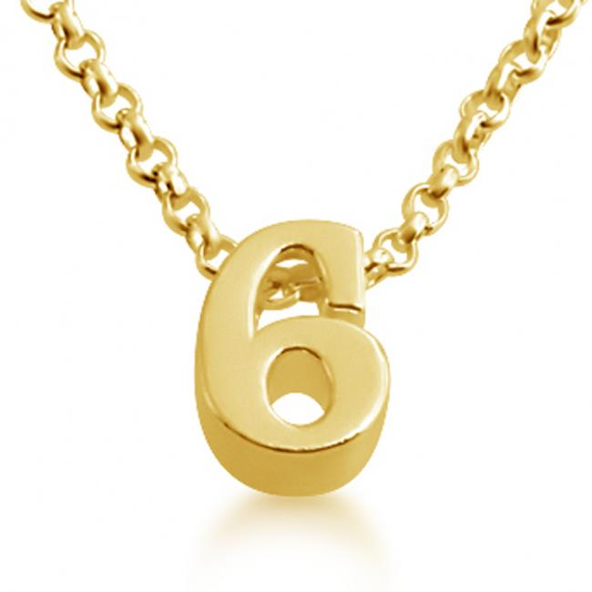Gold plated necklace Initial Letter 6 Personalized Symbols & Letters Serif Font
