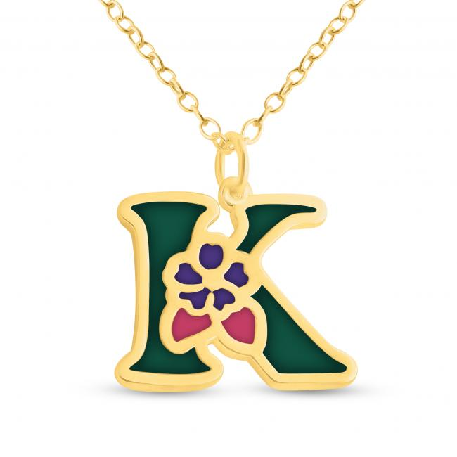 Gold plated necklace Colored Initial Letter K with Flower