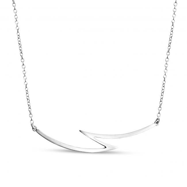 925 sterling silver necklace Lightning Bolt Sideways