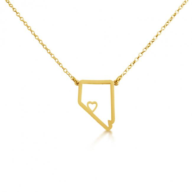 Gold plated necklace Nevada Home is Where The Heart Is State Necklace
