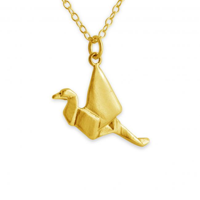 Gold plated necklace Origami Paper Crane