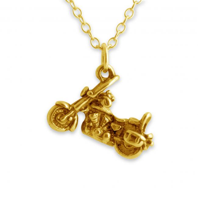 Gold plated necklace Motorcycle Harley Style