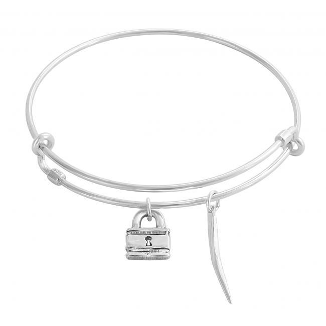 925 sterling silver bracelet Padlock Adjustable Wire Bangle