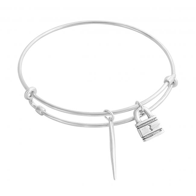 925 sterling silver bracelet Padlock Adjustable Wire Bangle