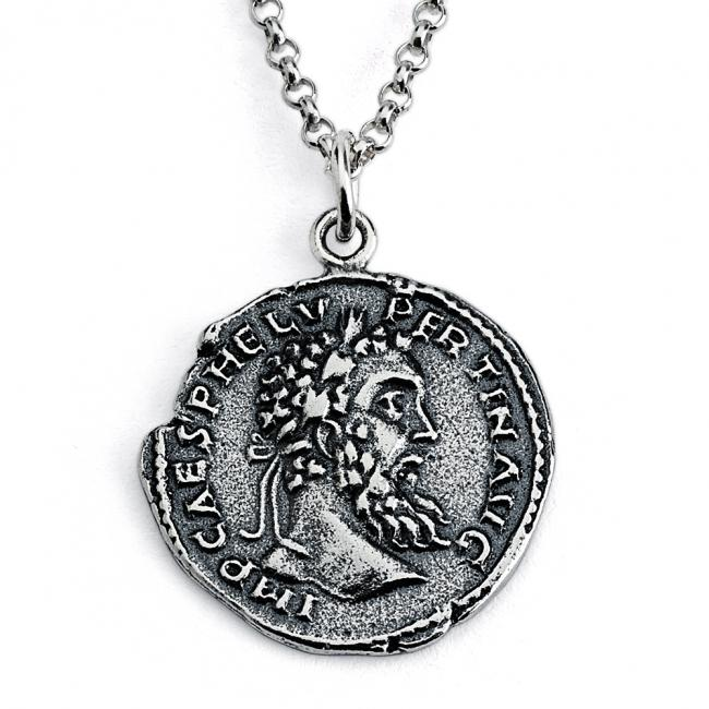 925 sterling silver necklace Replica Pertinax Roman Emperor Ancient COIN