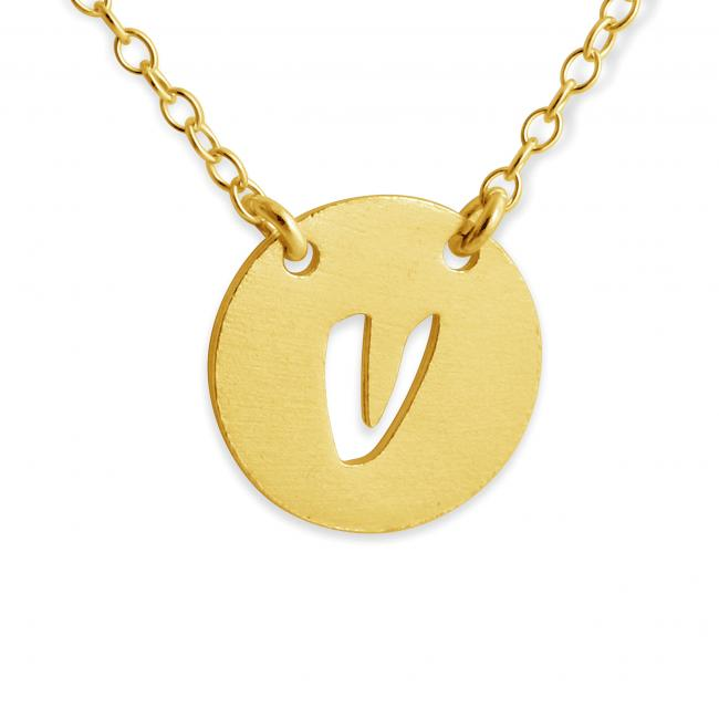 Gold plated necklace V Open Letter