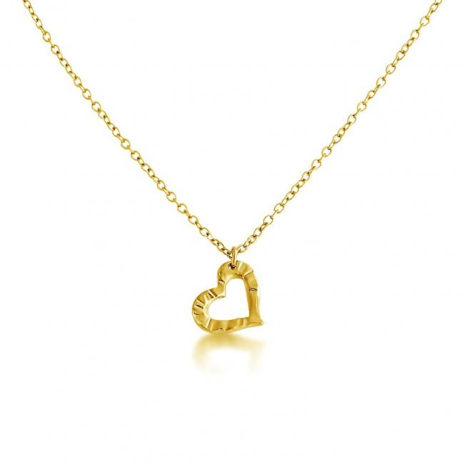 Gold plated necklace Textured Heart Cut Out Double Sided Love