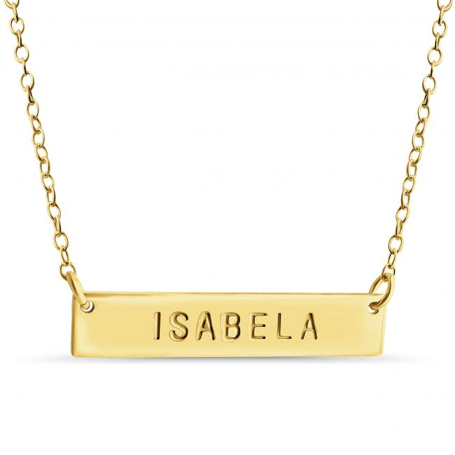 Gold plated necklace Name Bar Isabela