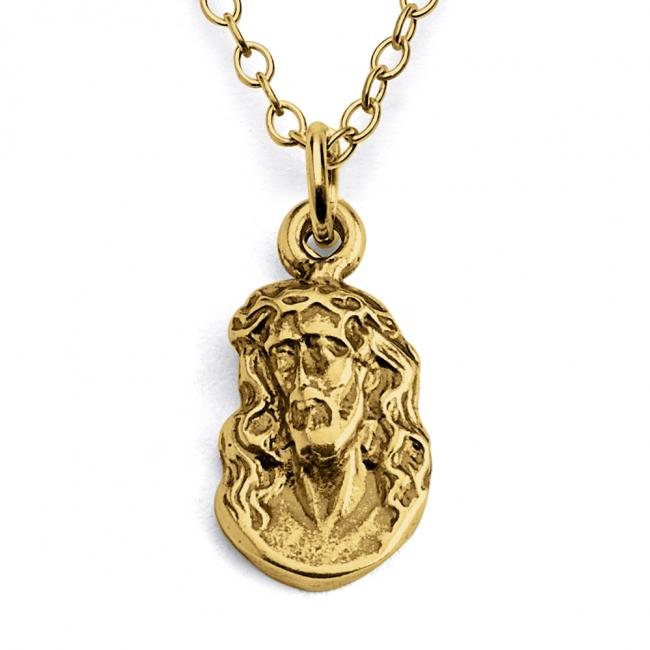 Gold plated necklace Jesus Crowned with Thorns Christian Religious