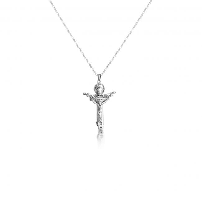925 sterling silver necklace Father w/ Son Crucifix