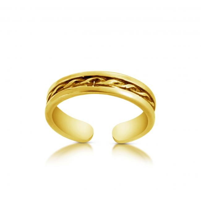Gold plated ring Intertwined Rope Adjustable Toe Ring