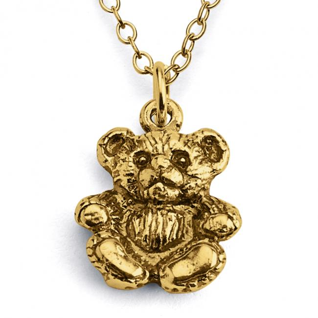 Gold plated necklace Cute Teddy Bear Toy