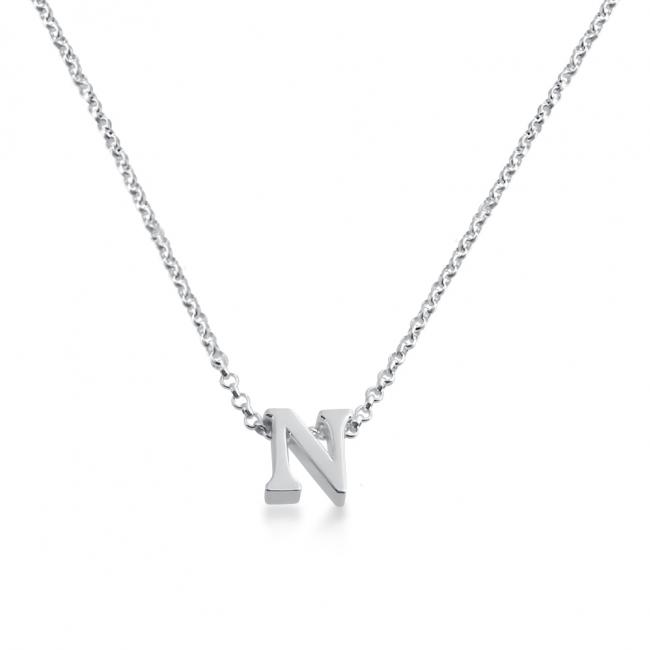 925 sterling silver necklace Initial Letter N Personalized Symbols & Letters Serif Font